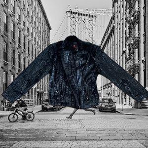 Black faux rabbit cropped jacket Adrienne Landau